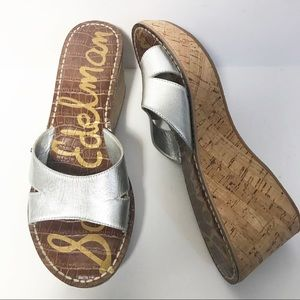 Sam Edelman Reid Silver Cork Wedge Slide Sandal